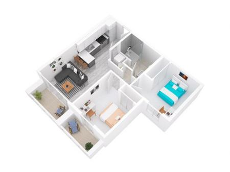 3D Floorplan depicts 2x1 Style A
