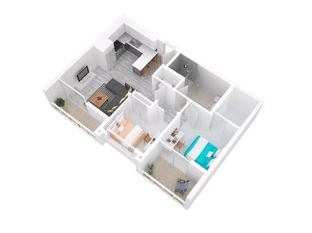 3D Floorplan depicts 2x1 Style B