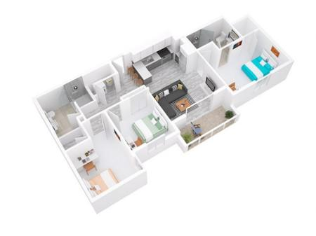 3D Floorplan depicts 3 x 2 Style A