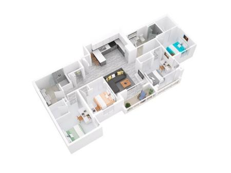 3D Floorplan depicts 4x2 Style A