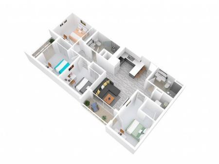 3D Floorplan depicts 4 x 2 Style B