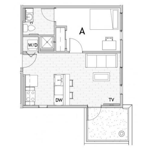 1 Bedroom Floor Plan 2 | Apartments In Fort Collins Near Csu | Uncommon Fort Collins