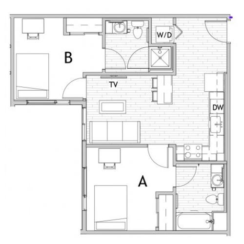 2 Bedroom Floor Plan 3 | Csu Off Campus Housing | Uncommon Fort Collins