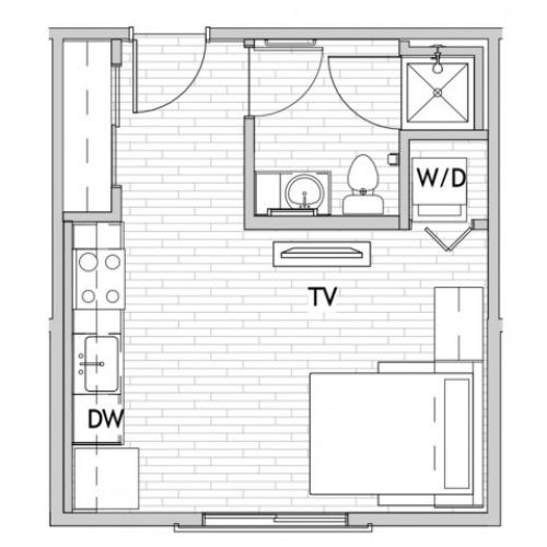 Studio Floor Plan | Csu Off Campus Housing | Uncommon Fort Collins