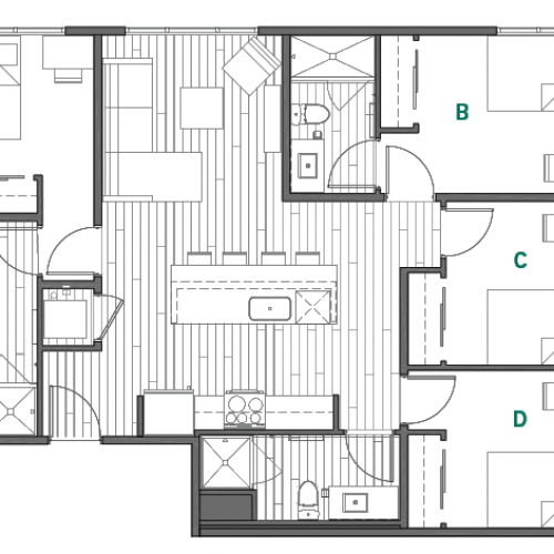 4x3A Master Bedrooms - One Space Left