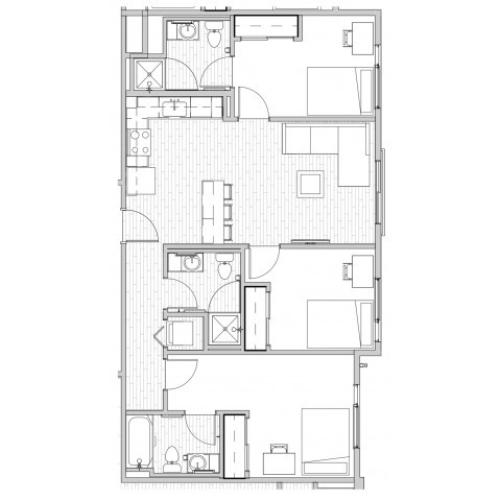 3 Bedroom Floor Plan 2 | Apartments Near Csu | Uncommon Fort Collins