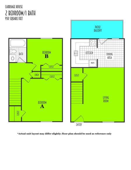 2 Bed 1 Bath Townhome