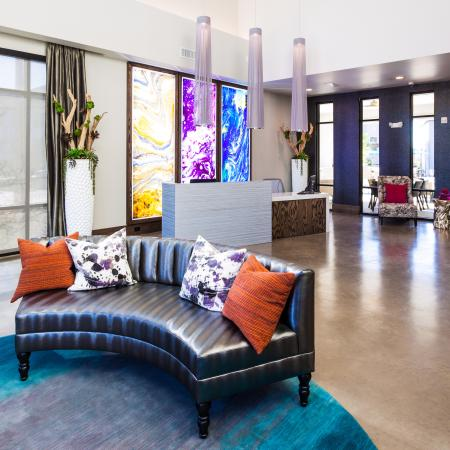 Modern Dallas Apartments | High end furnishings in clubhouse at LBJ Station Ltd in Dallas TX apartments.