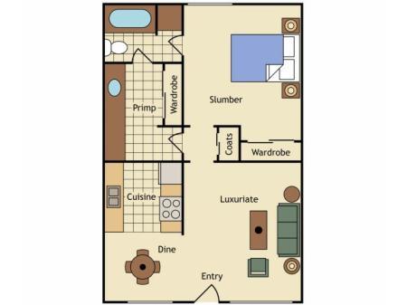 1 Bedroom Floor Plan | UC Davis Apartments | University Court