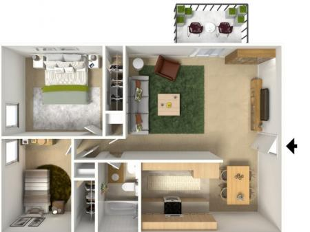 2x12 Bedroom Floor Plan | University Village (Riverwalk II)
