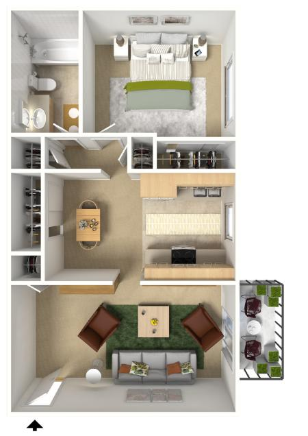 1x11 Bedroom Floor Plan | University Village (Riverwalk II)