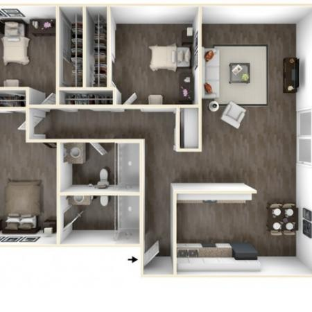 3 Bedroom Floor Plan | Apartments Near Sacramento State University | University Village
