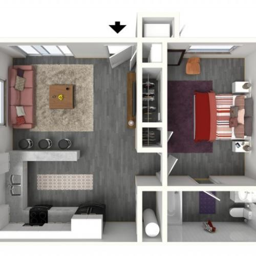 1 Bedroom Floor Plan | UC Davis Apartments | Cottages on 5th