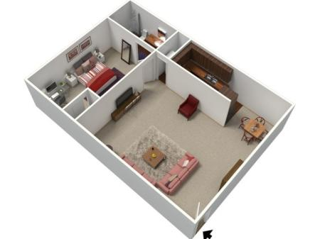 1 Bedroom Floor Plan | Apartments In Fresno CA | University Place