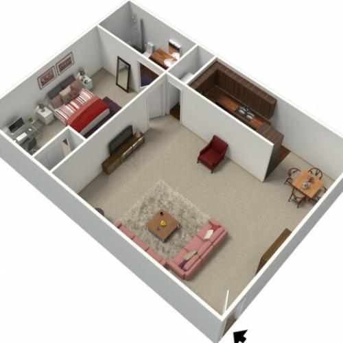 1 Bedroom Floor Plan | Apartments In Fresno CA | University Place