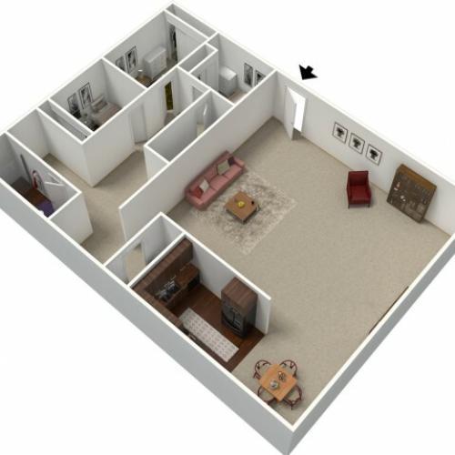3 Bedroom Floor Plan | Apt For Rent In Fresno CA | University Place