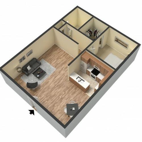 1 Bdrm Floor Plan | Sacramento Rentals | Villa Regia