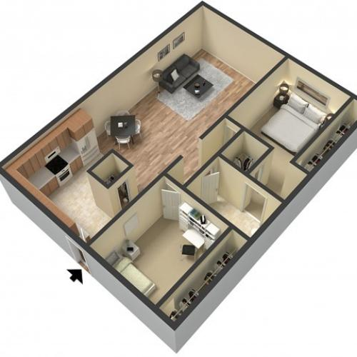 2 Bedroom Floor Plan | Studio Apartments Sacramento | Villa Regia