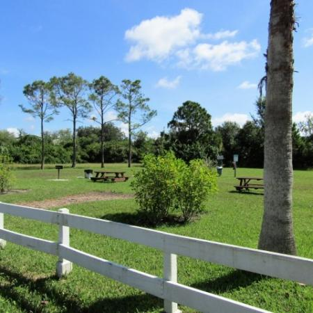 Clubside Apartment Homes, exterior, spacious picnic area, grass, trees, white fence