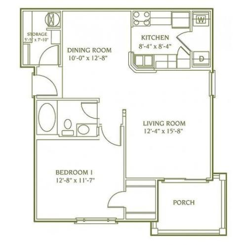 1 bedroom 1 bathroom floor plan of Andover apartment with porch