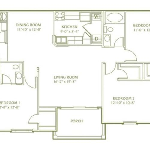 3 bedroom 2 bathroom floor plan of Newbury Deluxe apartments Midlothian VA with porch
