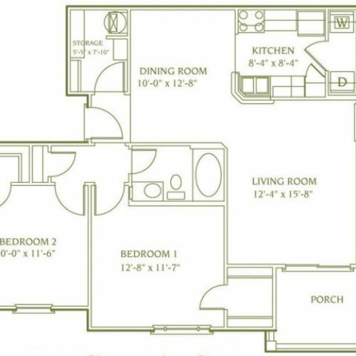 2 bedroom 1 bathroom floor plan of Banbury apartment with porch
