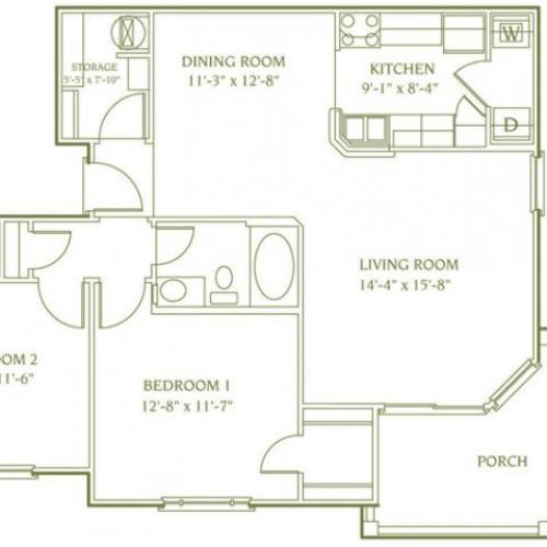 2 bedroom 1 bathroom floor plan of Banbury Deluxe apartment with porch