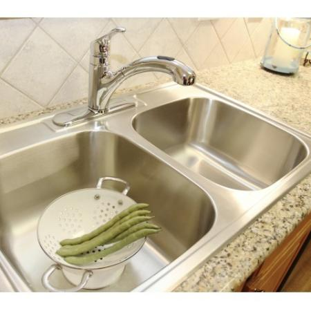 Extra Deep Stainless Steel Kitchen Sink with Moen Pull Out Faucet