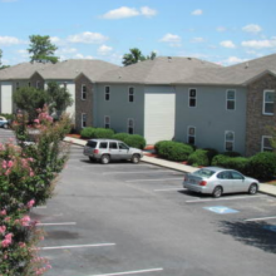 Apartment building exterior | parking lot