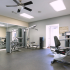 Fitness Center: large mirror, exercise machines, ceiling fan, natural light.