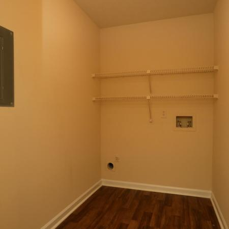 Cameron Crossing: Washer/Dryer hookups, shelves, wood floor with white base boards