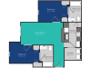 2 Bedroom floorplan, rented by the bedroom