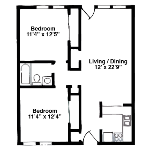 2 Bed 870 sq ft