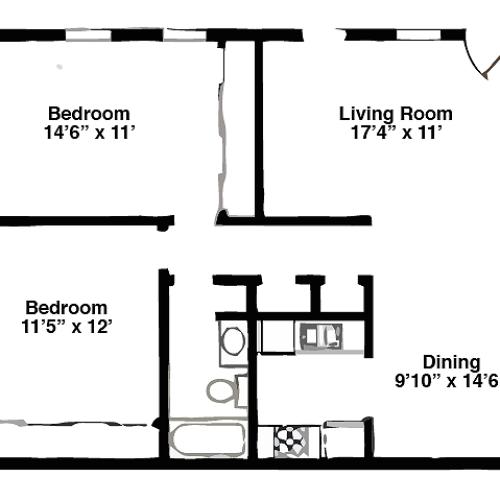 2 Bedroom, 1008 Square Feet