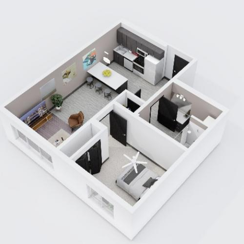 One Bedroom, One Bathroom City Scape 1A Layout