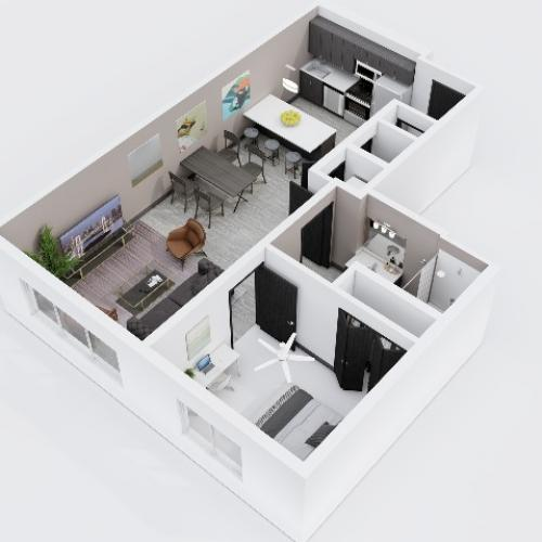 One Bedroom, One Bathroom City Scape 1A2A