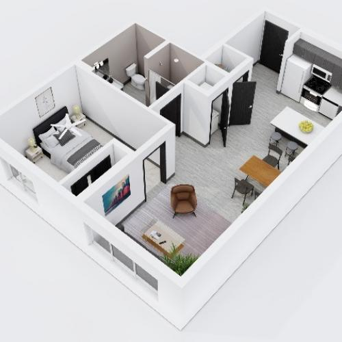 One Bedroom, One Bathroom City Scape 1A3