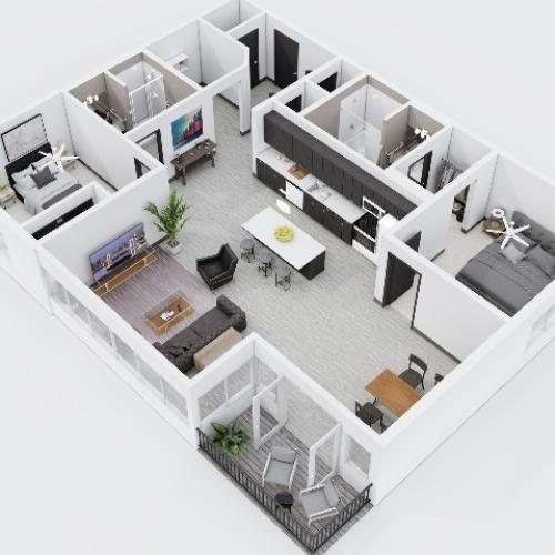 Two Bedroom, Two Bathroom City Scape 2A Layout