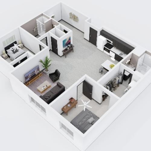Two Bedroom, Two Bathroom City Scape 2C Layout