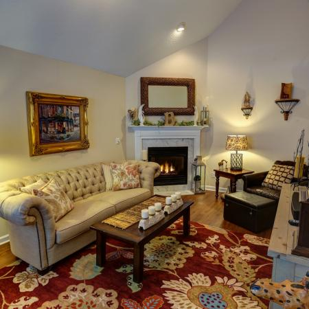 Stunning Fireplaces and Vaulted Ceilings in the Townhomes at Williamsville Apartment Rentals | StoneGate Apartment Homes