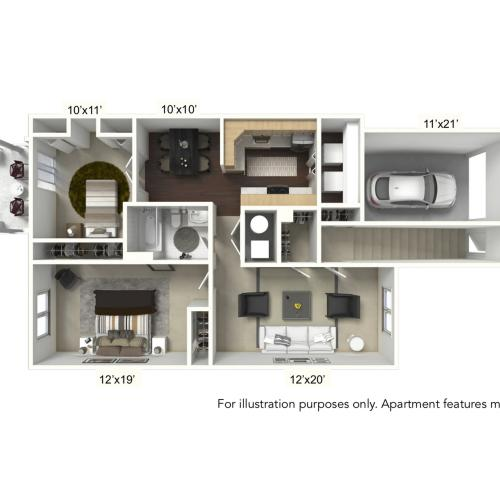 2 Bedroom Floor Plan | Apartments For Rent | StoneGate Apartment Homes