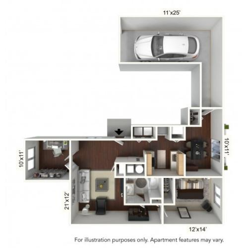 1 Bdrm Floor Plan | Williamsville Apartments | StoneGate Apartment Homes