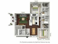 Floor Plan 1 | Luxury Apartments Buffalo | Autumn Creek Apartments
