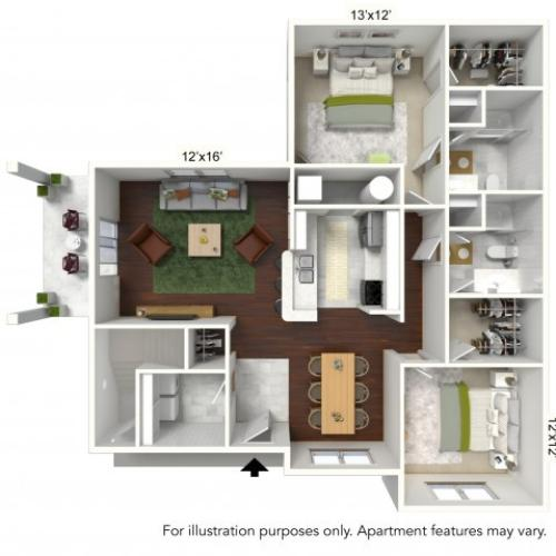 Floor Plan 1 | Luxury Apartments Buffalo | Autumn Creek Apartments