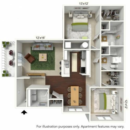 Floor Plan 2 | Luxury Apartments Buffalo Ny | Autumn Creek Apartments