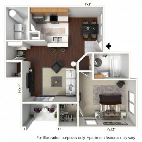 1 Bedroom Floor Plan | Apartments For Rent In Williamsville Ny | Renaissance Place Apartments