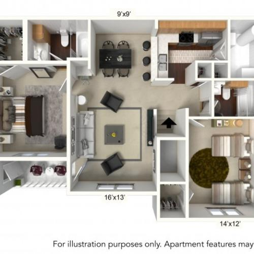 Floor Plan 3 | Apartments For Rent | Renaissance Place Apartments