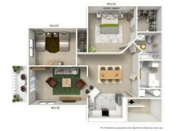 2 Bdrm Floor Plan | Buffalo Luxury Apartments | Autumn Creek Apartments