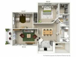 2 Bdrm Floor Plan | Buffalo Luxury Apartments | Autumn Creek Apartments