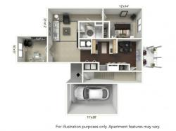 1 Bedroom Floor Plan | Apartments For Rent In Williamsville Ny | StoneGate Apartment Homes